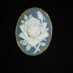 Vintage Avon Blue and White Rose Brooch